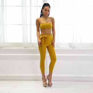 Yellow Strapless Crop Two Piece Jumpsuit