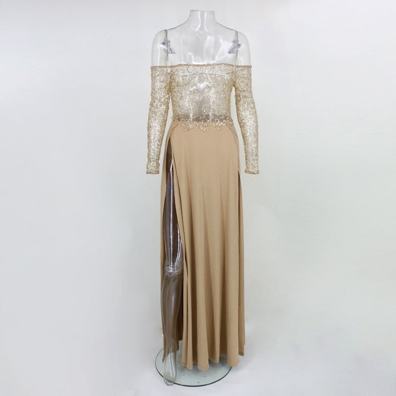 Gold Sheer Sequin Maxi Dress