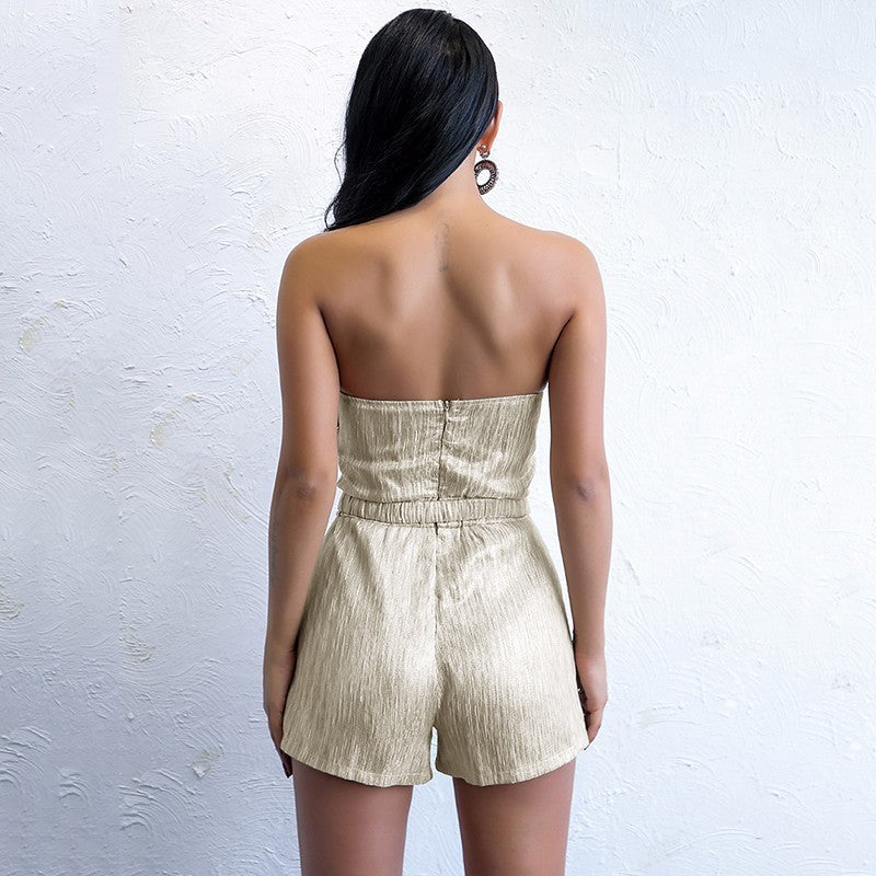Gold Strapless Belted Romper
