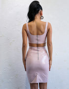 Pink PU Crop Two Piece Bodycon Dress - 3 Colors Available