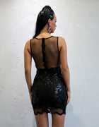 Sheer Mesh Sequin Bodycon Dress - 2 Colors Available