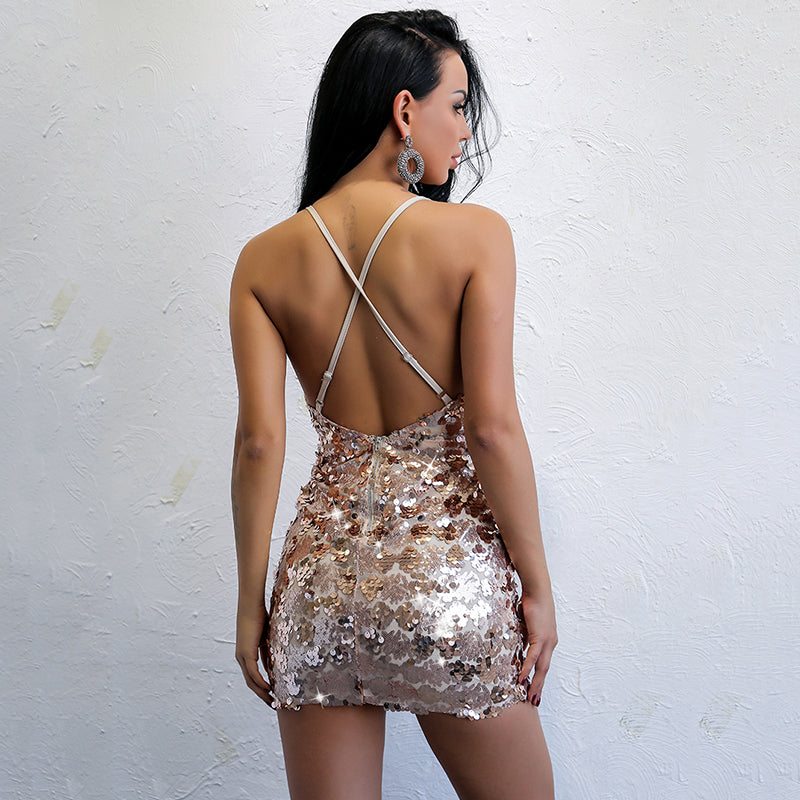 Gold Sequin Plunge Mini Dress