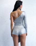Silver One Shoulder Asymmetric Romper