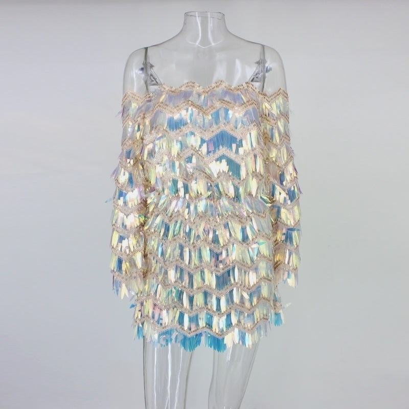 Multi-Color Sequin Fringe Off Shoulder Mini Dress