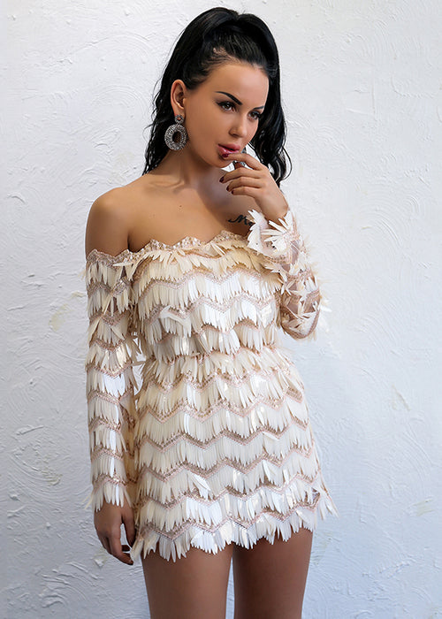 Ivory Sequin Fringe Off Shoulder Mini Dress