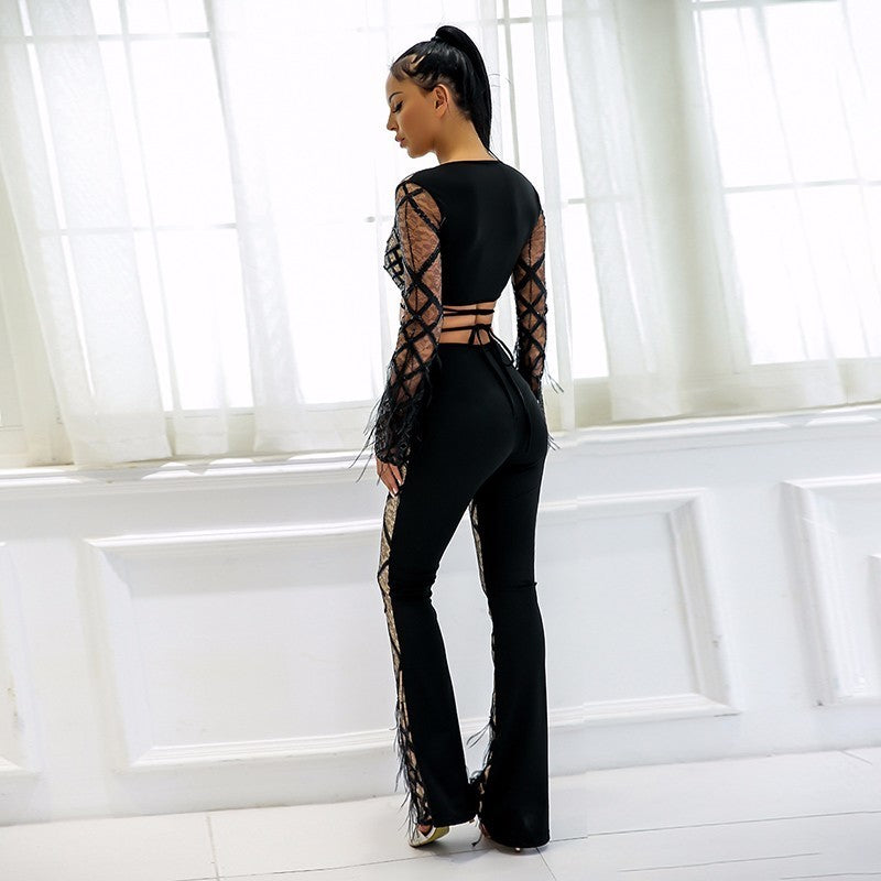 Black Lace Feather Sequin Two Piece Jumpsuit