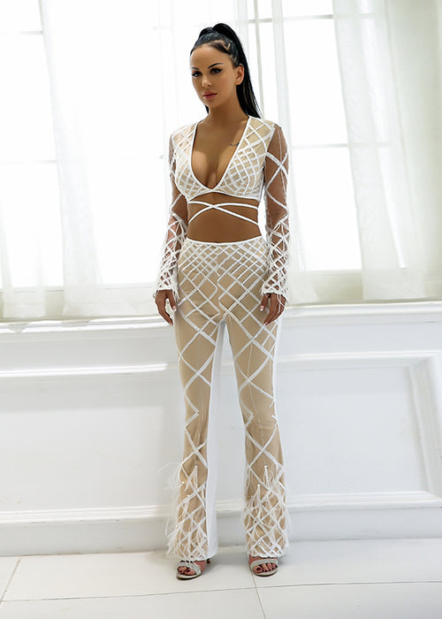 White Sheer Feather Sequin Two Piece Jumpsuit