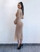 Metallic Knit Sweater Maxi Dress - 4 Colors Available