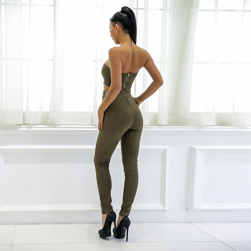 Army Green Faux Suede Strapless Two Piece Jumpsuit