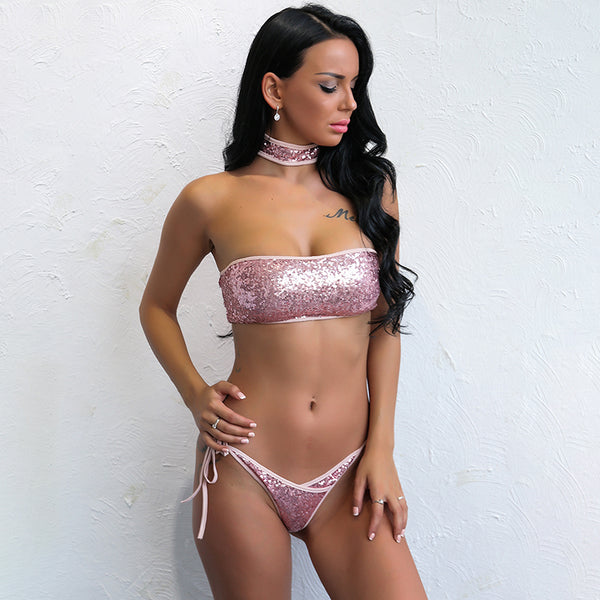 Sequin Bandeau Brazilian Bikini - 2 Colors Available