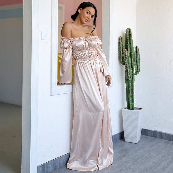 Nude Satin Off The Shoulder Maxi Dress