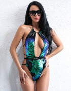 Color Changing Sequin Swimsuit in GREEN