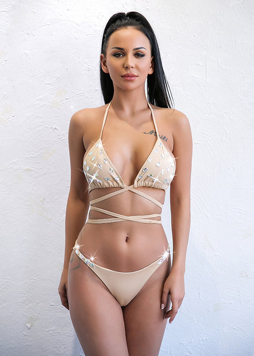 Rhinestone Crystal Triangle Bikini - 2 Colors Available