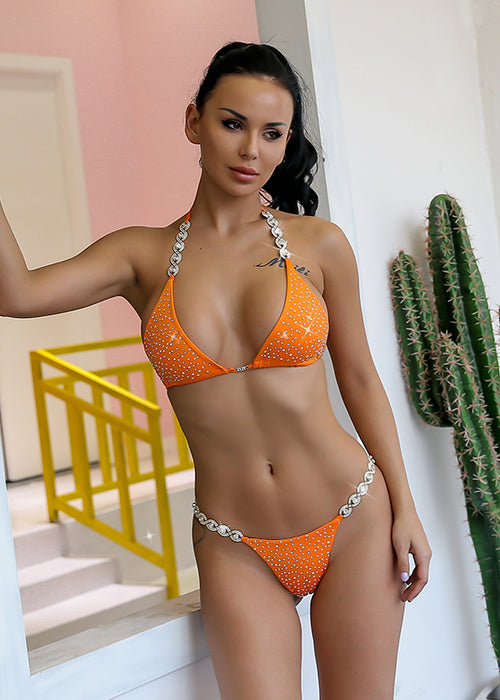 Orange Rhinestone Triangle Bikini Swimsuit