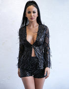 Black Sequin Feather Two Piece Set - 3 Colors Available