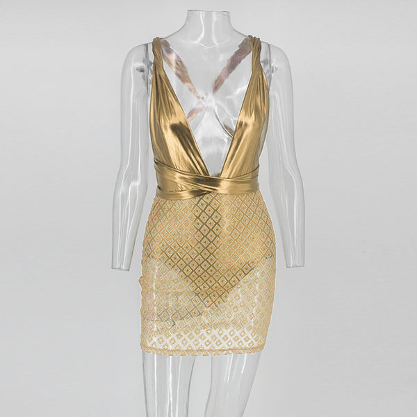 Sheer Gold Metallic Sequin Mini Dress