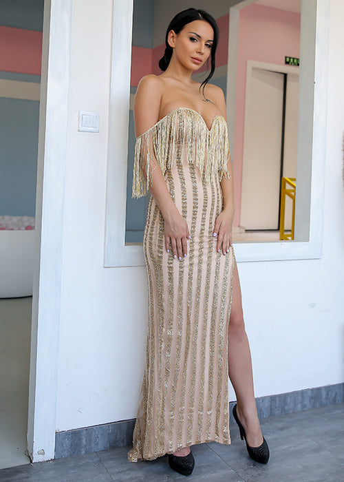 Gold Sequin Stripe Fringe Maxi Dress