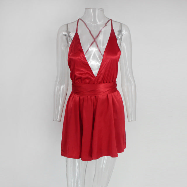 Red Satin Backless Romper - 3 Colors Available