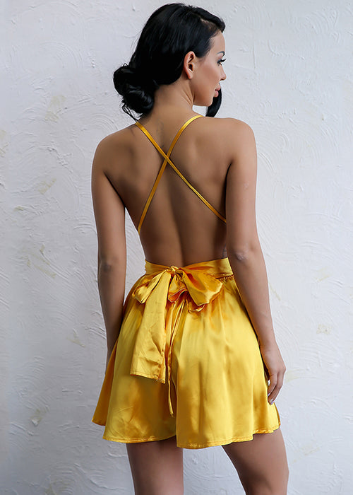 Yellow Satin Backless Romper - 3 Colors Available