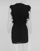 White Feather Sequin Mini Dress - 2 Colors Available