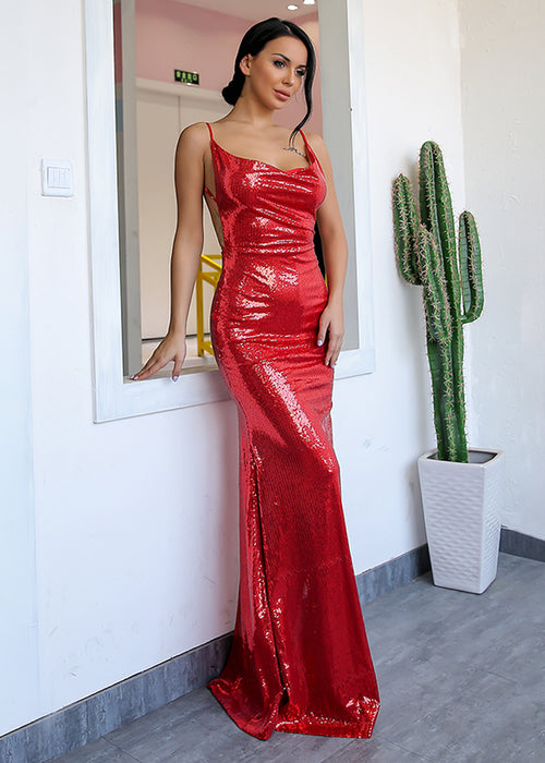 Red Sequin Backless Maxi Dress