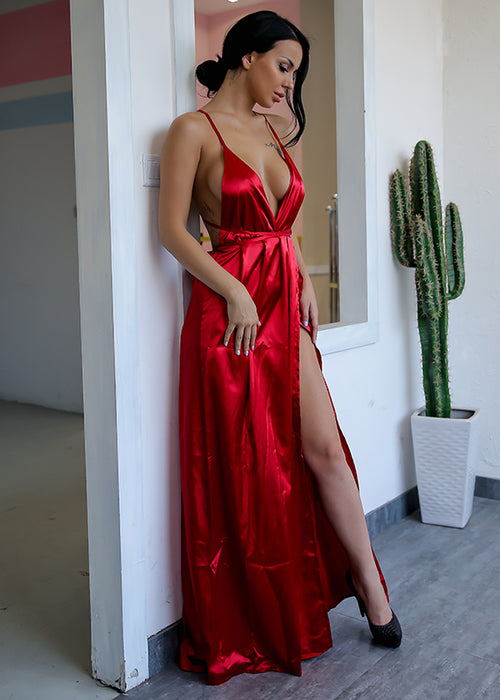 Red Backless Satin Maxi Dress - 3 Colors Available