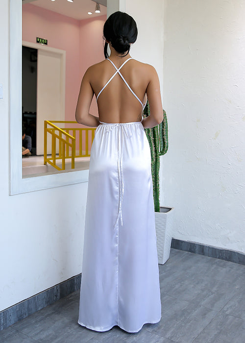 White Backless Satin Maxi Dress - 3 Colors Available