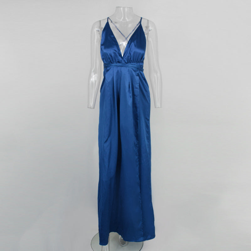 Blue Backless Satin Maxi Dress - 3 Colors Available
