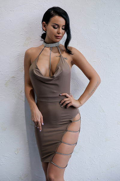 Khaki Glitter Straps Cut Out Bodycon Dress - 3 Colors Available