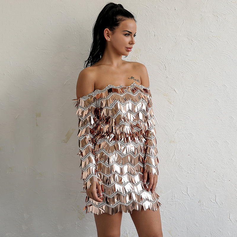 Gold Sequin Fringe Off Shoulder Mini Dress