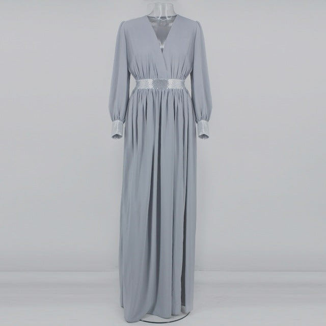 Grey Collar Maxi Dress with Silver Accents