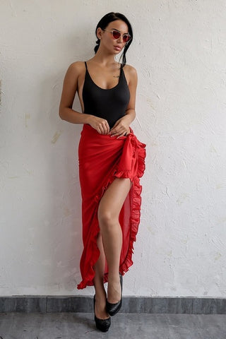 Red Chiffon Ruffle Wrap Maxi Skirt - 5 Colors Available