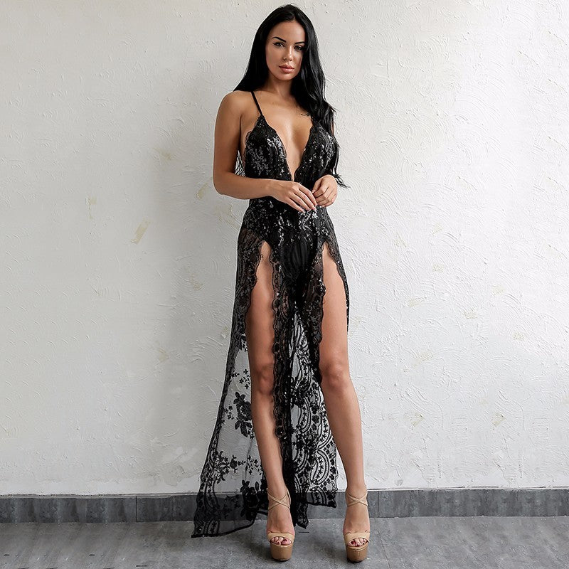 V Neck Black Sheer Lace Jumpsuit