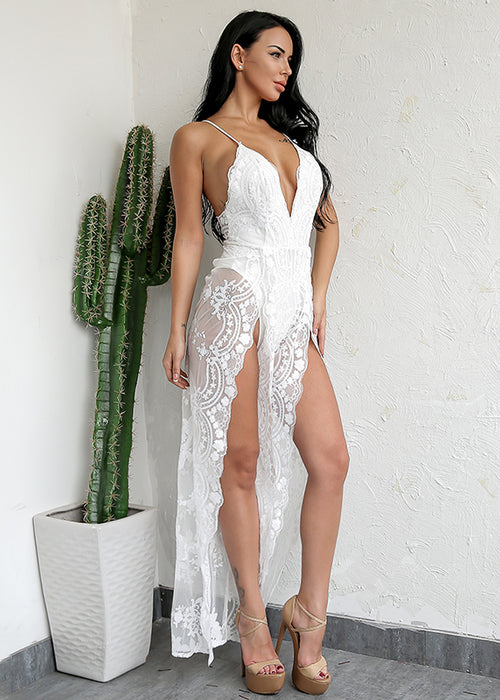 V Neck White Sheer Lace Jumpsuit