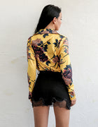 Yellow Floral Plunge Wrap Bodysuit - 5 Colors Available