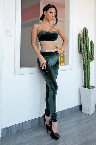 Green Velvet Crop Skinny Two Piece Jumpsuit - 2 Colors Available