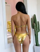 Gold Metallic Bandeau Brazilian Bikini Swimsuit - 3 Colors Available