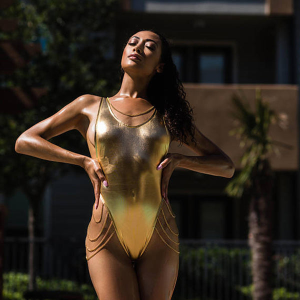 Gold Metallic Draped Chain One Piece Swimsuit - 2 Colors Available