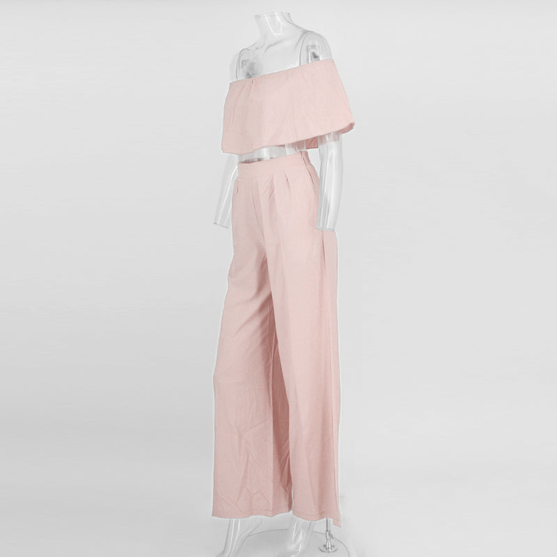 Pink Crop Wide Leg Two Piece Jumpsuit - 4 Colors Available
