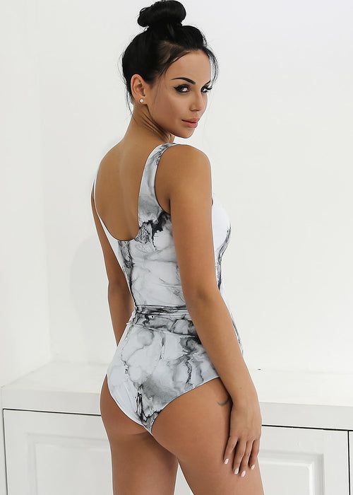 Marble Print Sleeveless Bodysuit