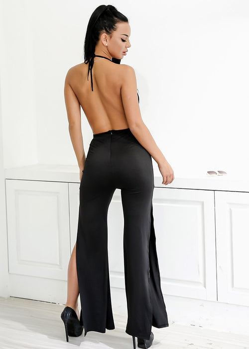 Wide Leg Halter Jumpsuit - 2 Colors Available