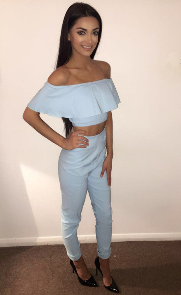 Off the Shoulder Two Piece Jumpsuit