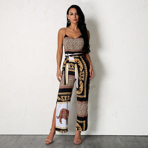 Patchwork Animal Print Jumpsuit