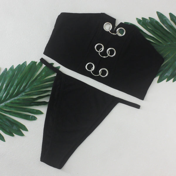 Strapless Grommet Bikini Swimsuit - 2 Colors Available