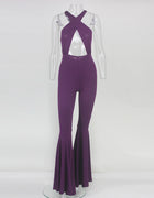 Purple Cut Out Halter Jumpsuit