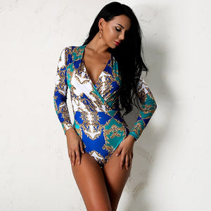 Multi Floral Print Long Sleeve Bodysuit