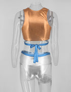 Metallic Two Piece Wrap Swimsuit - 2 Colors Available