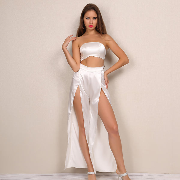 Satin Crop Wide Leg Jumpsuit Two Piece Set - 2 Colors Available