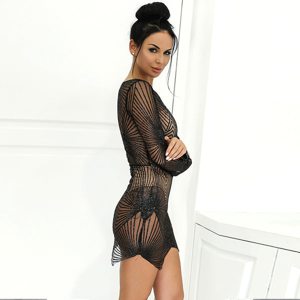 Sheer Mesh Sequin Mini Dress - 4 Colors Available