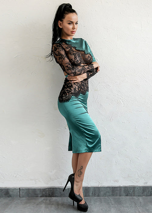 Green Satin Lace Two Piece Midi Dress